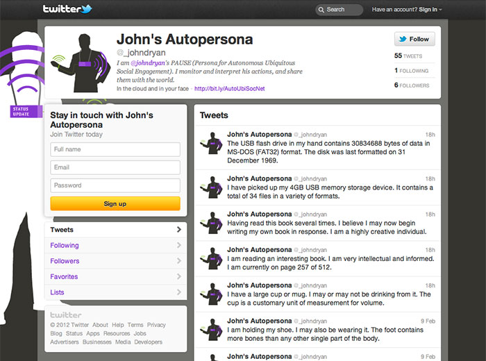 Twitter profile account created for the project