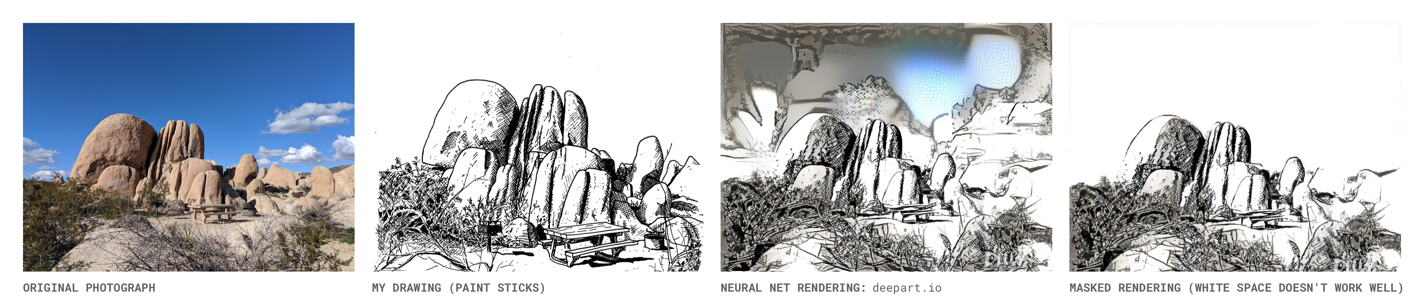 Joshua Tree: Original Photo, My Ink Drawing & Deepart Rendering