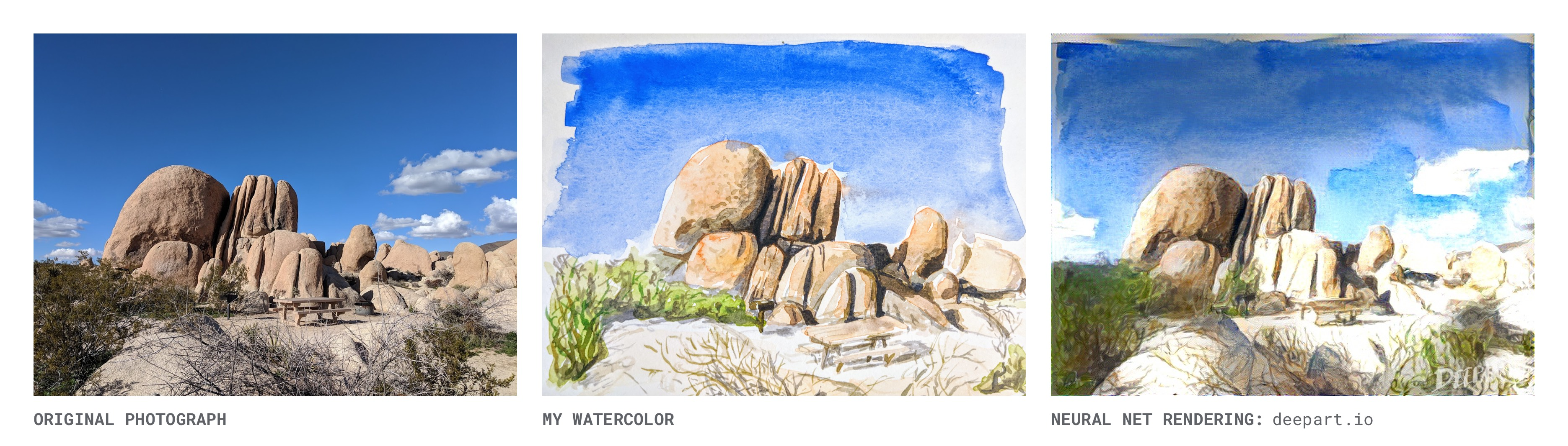 Joshua Tree: Original Photo, My Watercolor Painting & Deepart Rendering