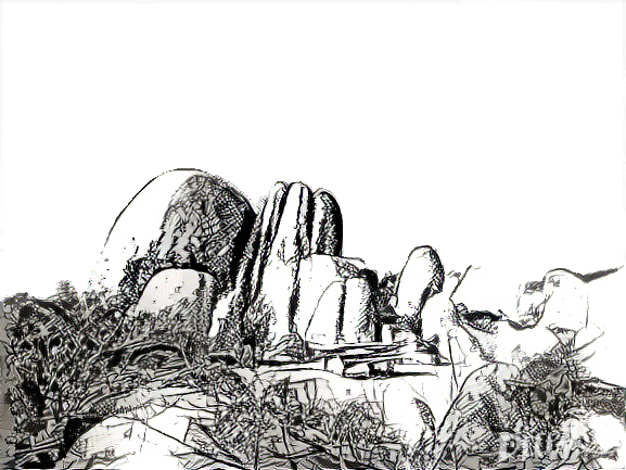 Deepart: Joshua Tree in pen, masked